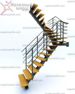 металлокаркас лестницы на второй этаж Железный марш