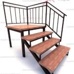 Лестница из дерева на металлическом каркасе